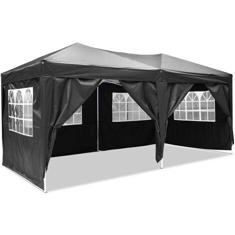 3X6M Tente de réception pliant Tonnelle pour différentes activités avec panneau latéra et sac transport Noir - Noir