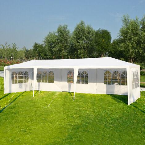3X9M Garden Gazebo Wedding Tent Waterproof Canopy Marquee Outdoor 5 Side Windows White
