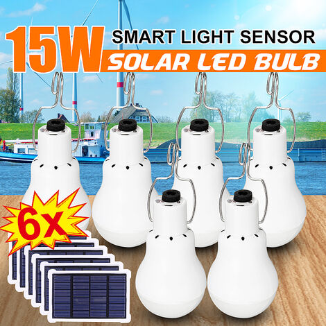 4 / 2X 120W Solar Powered LED Bulb Portable Outdoor Camping Tent Reading Fishing Hiking Lamp With Light Sensor