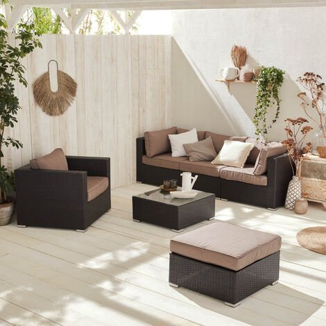 4-5 seater rattan garden sofa set – Caligari, chocolate / brown