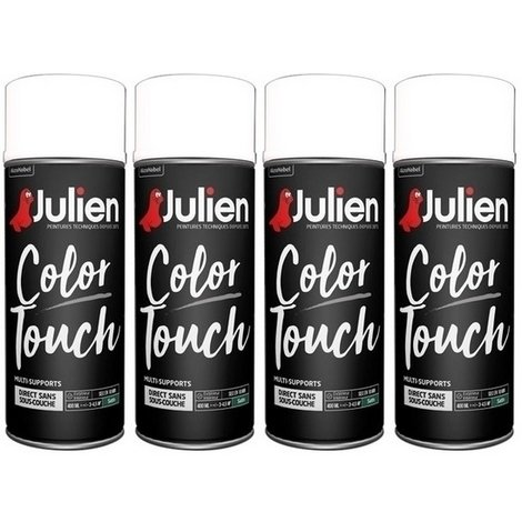 4 aérosols blanc satin 400 ml RAL9010 Color Touch JULIEN