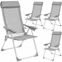 4 Aluminium Gartenstühle mit Kopfteil - Gartensessel, Gartengarnitur, Balkonstühle - grau