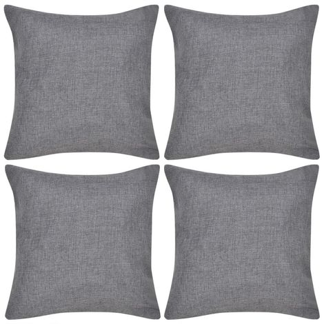 4 Anthracite Cushion Covers Linen-look 40 x 40 cm