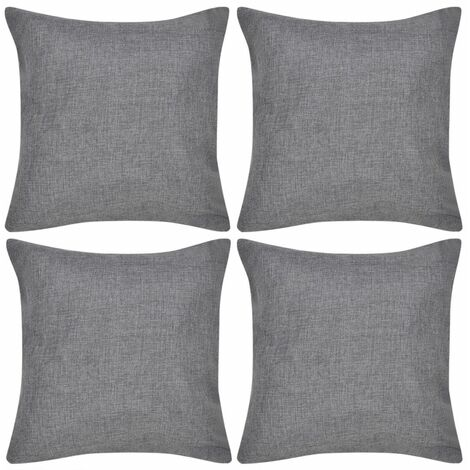 4 Anthracite Cushion Covers Linen-look 50 x 50 cm