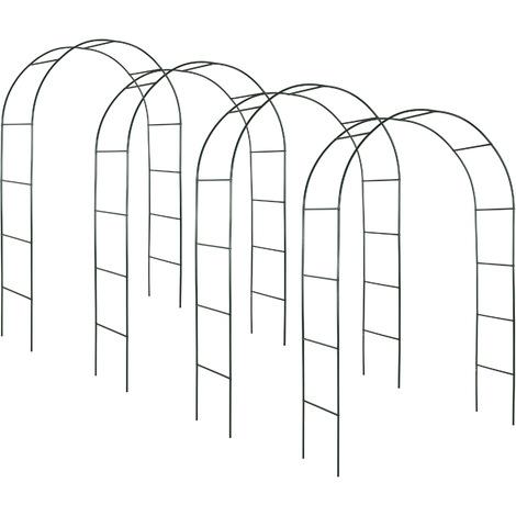 4 Arches de jardin pour Plantes Grimpantes et Rosiers - 240 x 140 cm - en Acier vert foncé