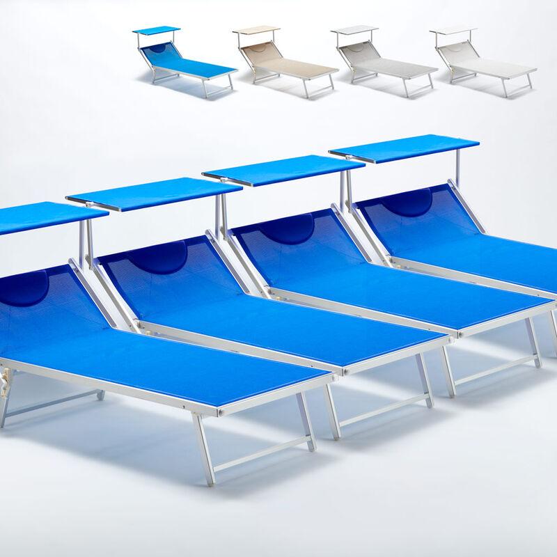 4 Bain de soleil transat taille maxi professionnels aluminium lits de plage GRANDE ITALIA Extralarge | Bleu