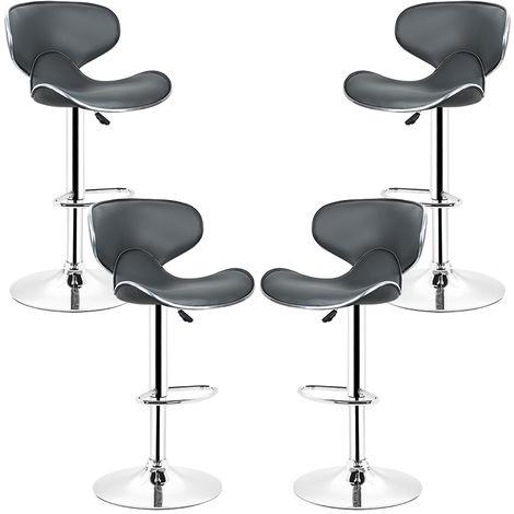 4 Barhocker mit Rückenlehne. Robustem Standfuß und Verchromtem Metallhebel.höhenverstellbar.360°drehbar.Grau
