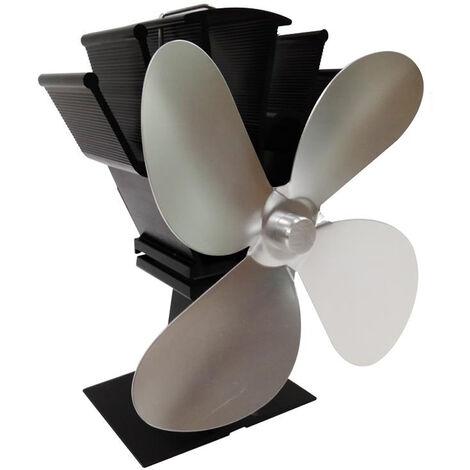 4-Blade calor accionada estufas ventilador chimenea de lena casa eficiente de distribucion de calor del ventilador, de plata