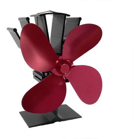 4-Blade calor accionada estufas ventilador chimenea de lena casa eficiente de distribucion de calor del ventilador, Rojo