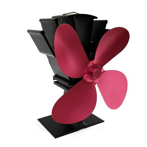 4-Blade calor accionada estufas ventilador chimenea de lena casa eficiente de distribucion de calor del ventilador, Rose