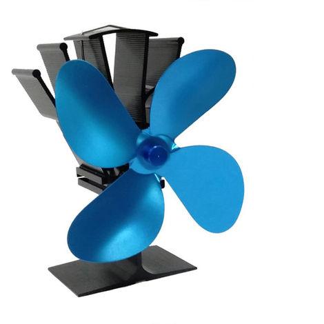 4-Blade calor accionada estufas ventilador chimenea de lena de calor del ventilador de distribucion, Azul