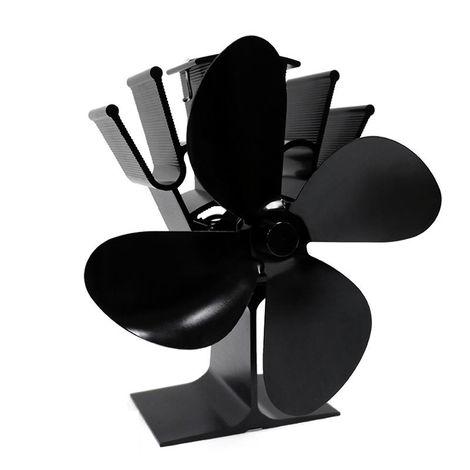 """main image of """"4-Blade Heat Powered Poeles Ventilateur Cheminee A Bois Connexion Accueil Efficace Distribution De Chaleur Ventilateur, Bleu"""""""