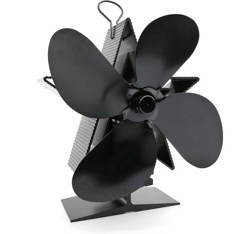 4 Blades Heat Fireplace Fan Thermal Power Aluminum Stove Fan black without Thermometer