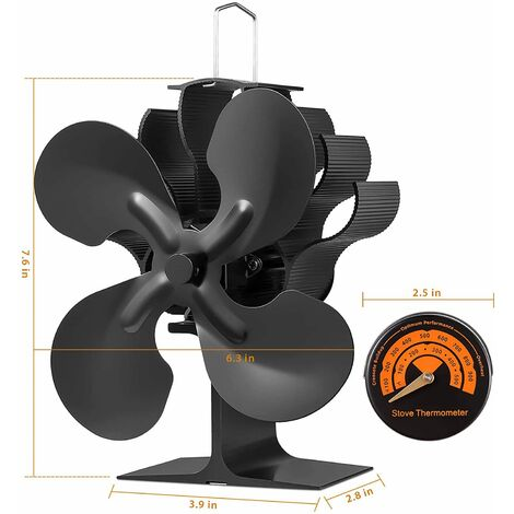 """main image of """"4 Blades Heat Powered Stove Fan for Wood/Log Burner/Fireplace with thermometer"""""""