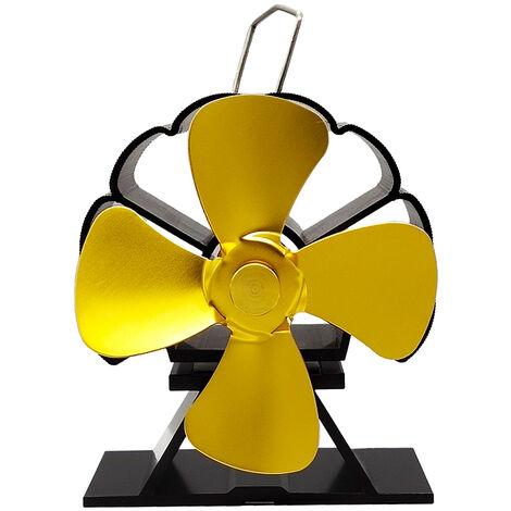 4 Blades Stove Fan w/ Thermometer Wood Burner Heat Powered Fireplace Saving Ecofan Household gold