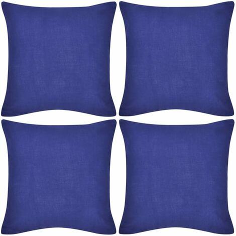 "main image of ""4 Blue Cushion Covers Cotton 40 x 40 cm - Blue"""