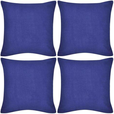4 Blue Cushion Covers Cotton 50 x 50 cm VD00557