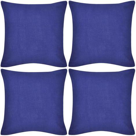 4 Blue Cushion Covers Cotton 80 x 80 cm