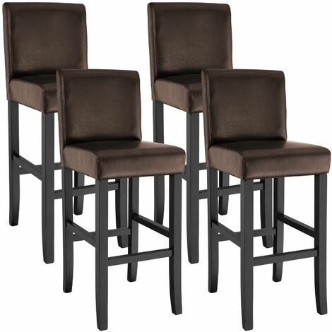 4 Breakfast bar stools made of artificial leather - bar stool, kitchen stool, wooden stool