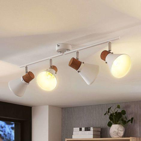 4-bulb ceiling spotlight Silva with cork decor