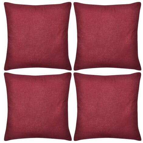 4 burgunderrote Kissenbezüge Baumwolle 40 x 40 cm