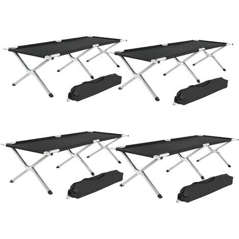 4 camping beds made of aluminium - folding camp bed, single camp bed, camping cot
