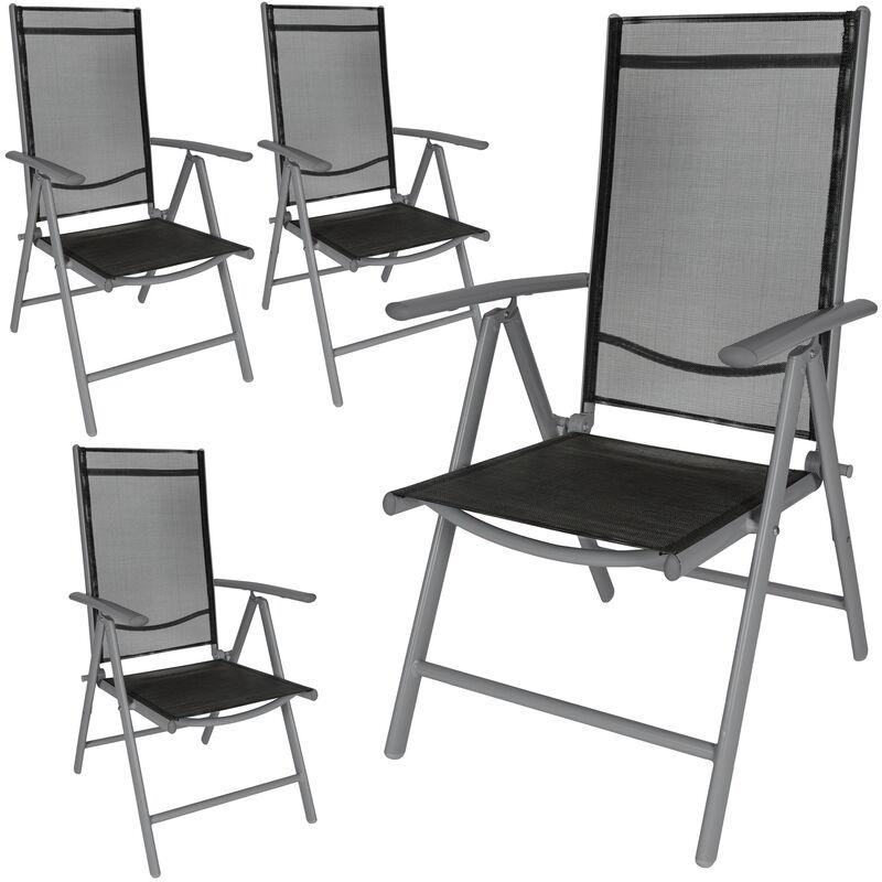 Tectake - 4 Chaises de Camping ou de Jardin Pliables Aluminium avec Accoudoirs et Dossier Haut Gris Anthracite Noir