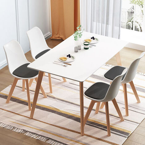 4 Chaises Design Confortable Moderne, Chaise Salle a Manger Scandinave Rétro Pied en Bois, Chaise de Cuisine Contemporain Rembourré, Blanc Noir - Blanc Noir