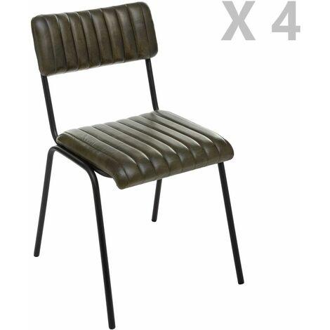 4 Chaises design vintage en cuir Dario - Vert - Vert