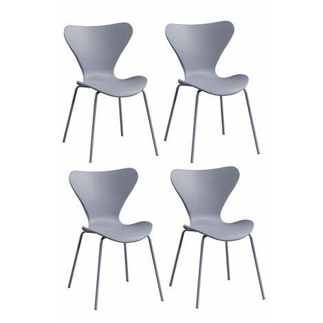 4 chaises grises empilables - Pop - gris
