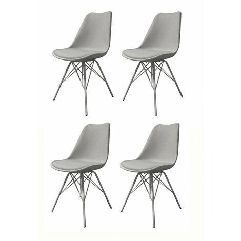 4 chaises grises pieds Design métal - Tomy - grise