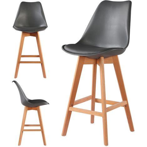 4 Chaises Hautes Tabourets Design Scandinave Gris - Skagen