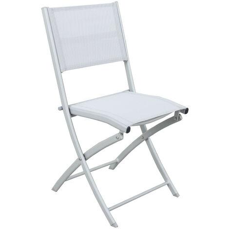 4 chaises pliables aluminium textilène - Gris Argenté- BORA - Gris