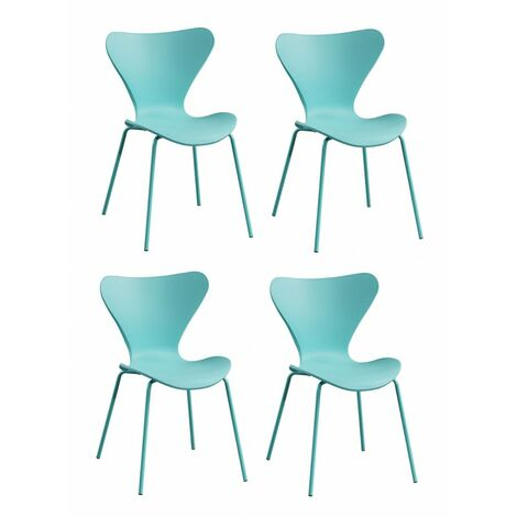 4 chaises roses empilables piétement chromé - Pop - rose