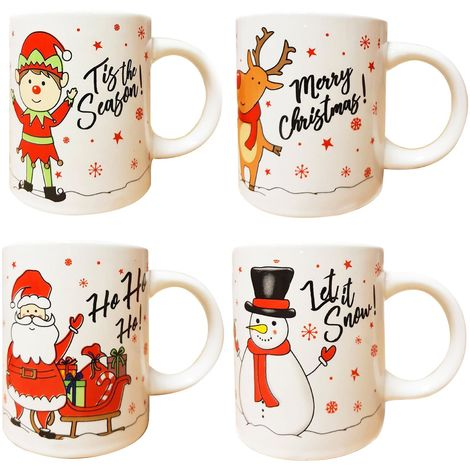 4 Christmas Mugs Cups Santa Elf Reindeer Snowman Festive Novelty Coffee Xmas