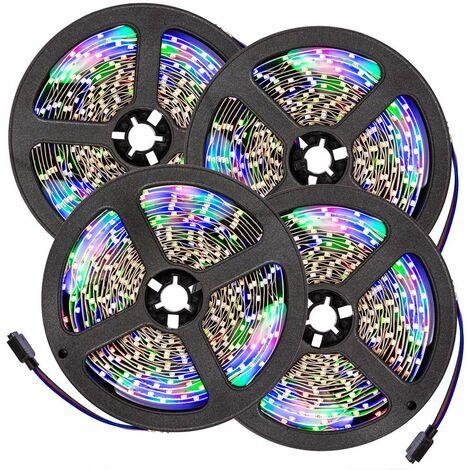 4 cintas LED 5m 300 LEDs - tira de led con pila de litio, tira de luces led de bajo consumo energético, luminarias led de distintos colores - blanco