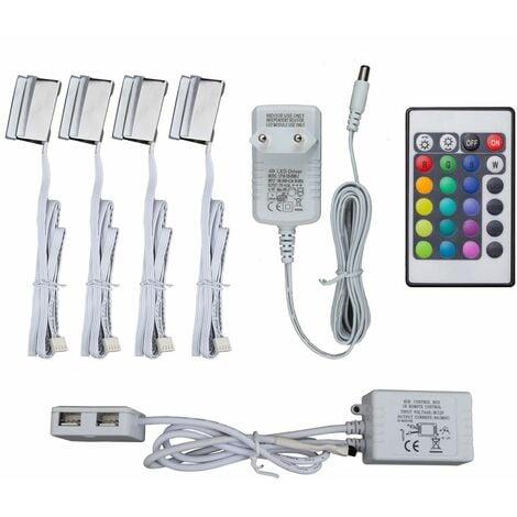 4 clips RGB LED éclairage vitrine placard armoire cuisine