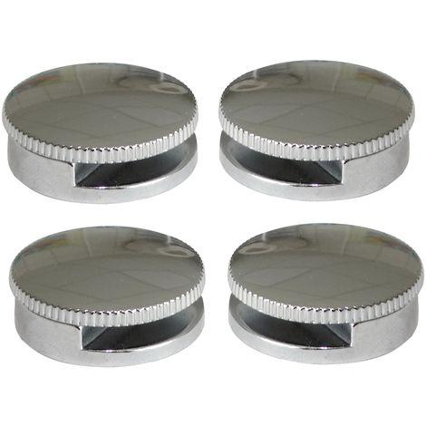 4 console patte support rond mural fixation de miroir glace en métal 180° Ø30mm