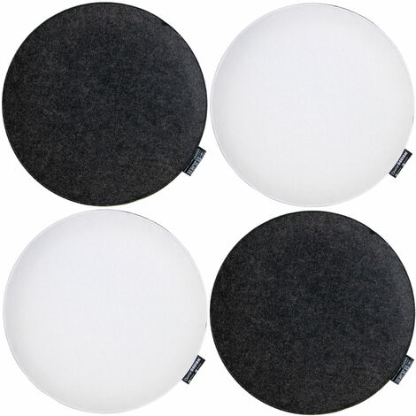 4 Coussins de Chaise Feutre Ronds Ø 35x2,5 cm Set Oreiller Plat Anthracite Blanc