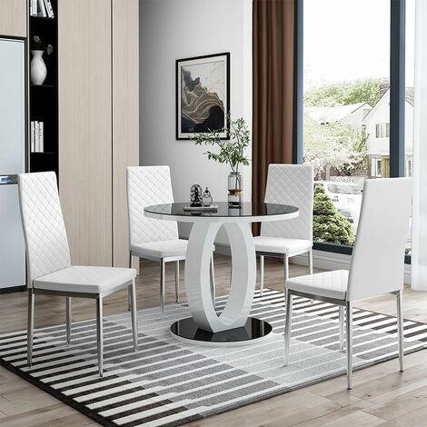 4 dining chairs synthetic leather - dining room chairs, kitchen chairs, dining table chairs - White