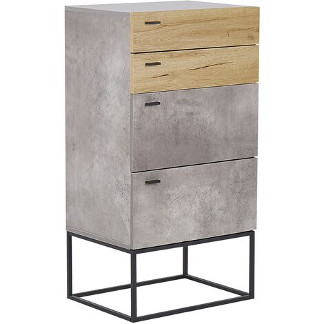 4 Drawer Chest Concrete Effect with Light Wood ACRA