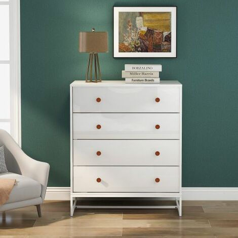 4 Drawer Chest, Modern Side Chest with Wide Storage Space, Functional Organizer with Metal Bases for Home, Pure White