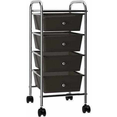 4-Drawer Mobile Storage Trolley Black Plastic