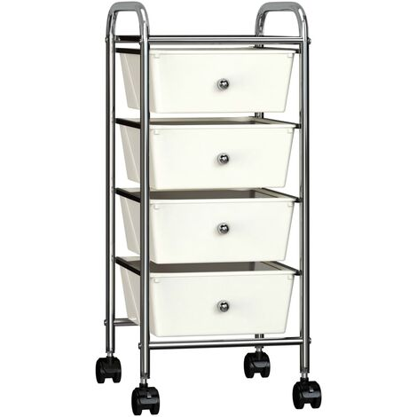 4-Drawer Mobile Storage Trolley White Plastic