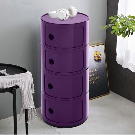 4 Drawer Round Storage Unit Plastic Cabinet Side Table Bedroom