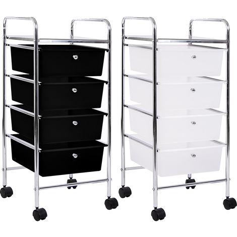 4 Drawer Storage Trolley, Black