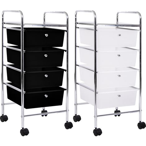 4 Drawer Storage Trolley, White