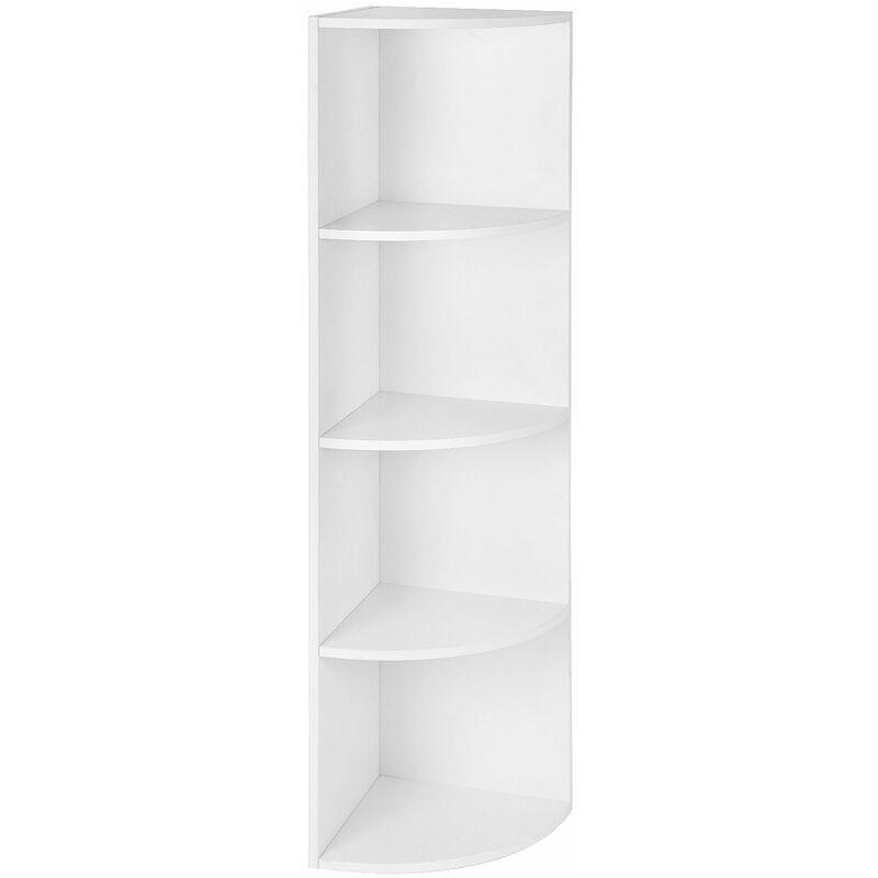 4 Ebenen Eckregal Standregal Bücherregal aus Holz für Küche Schlafzimmer  Wohnzimmer Büro Weiß LBC42WT