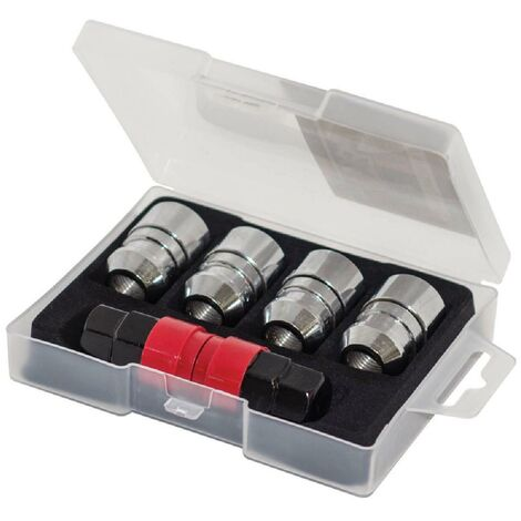 4 Ecrous Antivol 12x125 Coniques Type AA - avec 2 Cles Butzi