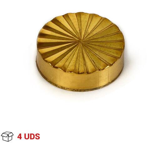 4 Embellecedores de tornillos para sujeción de espejos, fabricado en latón, con acabado oro y 18 mm de diámetro. Ref. 128